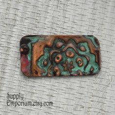 Copper Bracelet Bar Connector or Charm - Hand Stamped Patina Pendant - CT12 - Copper Pendant