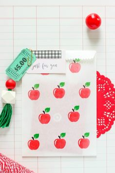 Create an easy Custom Stamped Favor Bag for a fun back to school gift idea for teachers and students.