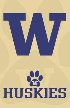 University of Washington UW Huskies Football Sports Team Logo Print Poster purple and gold.
