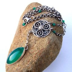 Gorgeous green onyx silver necklace
