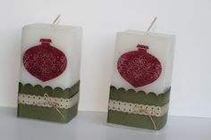 Designed by maryross: Velas con diseño de esfera, christmas candle, tags til christmas from stampin up, christmas gift ideas
