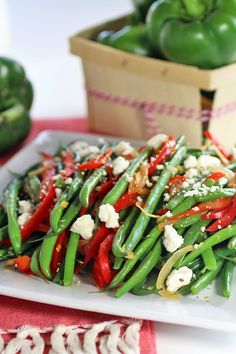 Red Peppers with Green Beans and Feta - #ad #FreshfromFlorida @FreshFromFL  Recipes Food and Cooking