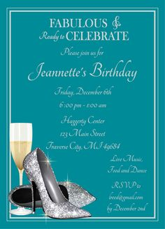 Fabulous Glitter Shoes Invitation - Champagne Glass Silver Birthday Invite by AnnounceItFavors on Etsy https://www.etsy.com/listing/174323862/fabulous-glitter-shoes-invitation