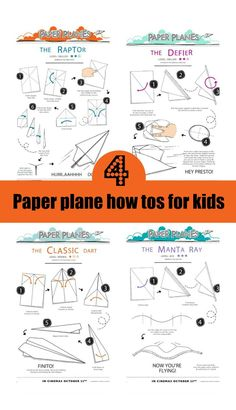 How to make paper aeroplanes with the kids. Four designs to choose from; the raptor, the deifer, the manta ray and the dart. A paper aroeplace for everyone. Why not down the how tos and make one now?