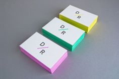 Daniel Renda Identity System Neon colors bordering business cards for pop of color that stand out among all the other white business cards out there 12/17/2013