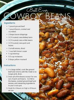 cowboy beans in the (Healthy Recipes Crock Pot) Baked Bean Recipes, Healthy Recipes, Great Recipes, Favorite Recipes, Bean Crockpot Recipes, 5 Bean Baked Beans Recipe, Bourbon Baked Beans Recipe, Sweet Beans Recipe, Navy Bean Recipes