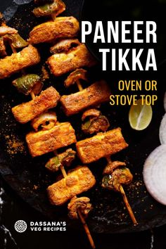You can mak this delicious Paneer Tikka at home, in the oven or pan-fried on a tawa or griddle. This popular tandoori snack is made of paneer (Indian cottage cheese cubes) marinated in a spiced yogurt-based marinade, arranged on skewers. They look great and taste incredible! Tandoori Paneer, Tikka Recipe, How To Make Paneer, Paneer Dishes, Paneer Tikka, Cheese Cubes, Paneer Recipes, Oven Recipes, Cottage Cheese