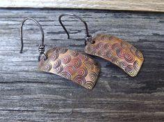 Copper swirl artisan hand stamped dangle earrings free by Amayeli, $18.00