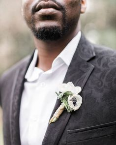 Groom in Black Damask Suit with Petite Anemone Boutonniere for Elegant Black Tie Garden Wedding Wedding Ring For Her, Our Wedding Day, Wedding Groom, Wedding Bouquet, Bride Groom, Wedding Things, Wedding Reception, Georgia Wedding, Atlanta Wedding