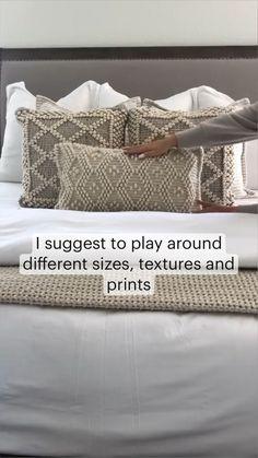 Bedding Master Bedroom, Master Bedroom Design, King Bedding Sets, Modern Bedroom, Bed Pillow Arrangement, Bedroom Decor For Couples, Bedroom Ideas, Bed Styling, Styling Tips