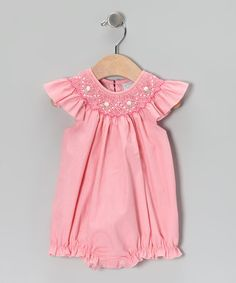 Take a look at this Pink Angel-Sleeve Bubble Bodysuit - Infant by Fantaisie Kids on #zulily today!