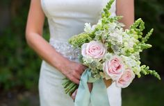 Pink rose and white stock wedding bouquet by Myrtle & Smith