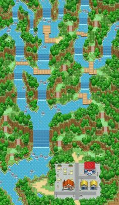 Renewal Falls by Phyromatical on DeviantArt Pixel Design, Map Design, Pokemon Towns, Cool Pixel Art, Rpg Map, Video Game Sprites, Pixel Art Games, Dungeons And Dragons Homebrew, Game Background