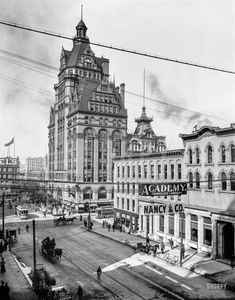 "Milwaukee circa 1900. ""Wisconsin Street and Pabst Building."" The city's first sky­scraper, completed in 1891, demolished 1981. 8x10 glass negative."