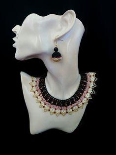 Women s jewelry necklace collar Ivory jewelry Beaded collar Beaded jewelry  set Beaded ball earrings. Κοσμήματα Με Χάντρες 8f85fef90a8