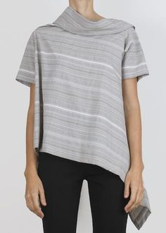Asymmetrical top in crisp textured fabric. Short sleeves with high draped collar and low draped back. Model is tall tall. Asymmetrical Tops, Women Wear, Short Sleeves, Unisex, Model, Cotton, Mens Tops, Clothes, Collection