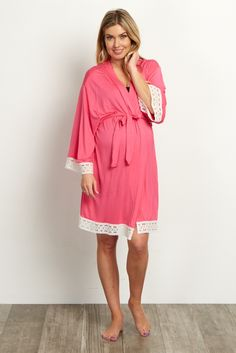 A solid delivery/nursing maternity robe to make sure your visit during and after the hospital is comfortable and stylish. This robe will make you feel beautiful through all of motherhood's transitions. With the gorgeous hue, feminine design, and lightweight material, you can have a beautiful piece to keep cool in.