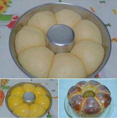 1 pacote fermento seco 1 e 1/2 xícara (chá) água 1 lata leite condensado 2…