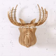 Crown stag carving in wood Animal wall decor