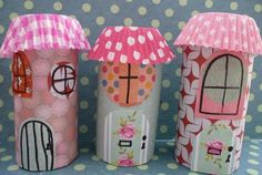 Cupcake liners & toilet rolls, little fairy houses