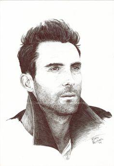 Adam Levine  Maroon 5  The Voice  Original Art por NateMichaelsArt
