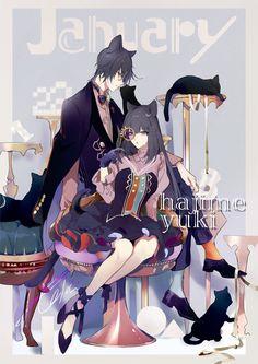 Hajime and Yuki Anime Couples Manga, Anime Guys, Manga Anime, Character Creation, Character Design, Anime Demon Boy, Tsukiuta The Animation, Fantasy Drawings, Sasuhina