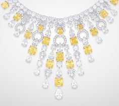GRAFF White & Yellow Diamond Necklace - Radiant yellow and round and pear shape white diamond necklace (434 diamonds, 116.41cts)