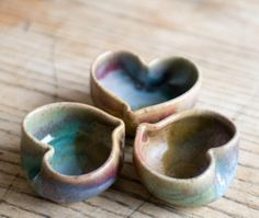 Set of three tiny heart bowls