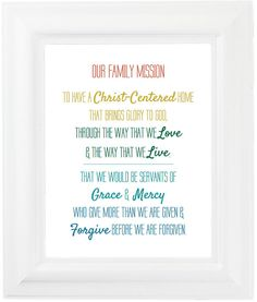 Large Customized Family Mission Statement Sign  Anderson Design