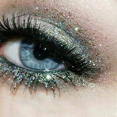 Beautiful soft blue sparkle eye makeup