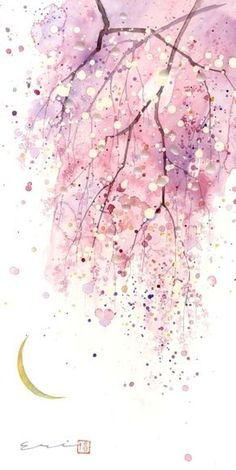 art abstracto [ Phong cnh c i ] Teil 6 - # Sz - art Watercolor Cards, Watercolour Painting, Watercolor Flowers, Painting & Drawing, Watercolors, Cherry Blossom Watercolor, Watercolor Moon, Watercolor Wallpaper, Painting Inspiration