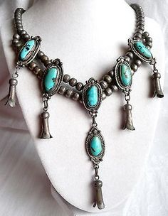 NAVAHO OLD PAWN TURQUOISE VARIATION SQUASH BLOSSOM NECKLACE.  SIGNED J.T.