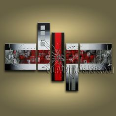 Huge Modern Abstract Painting Hand Painted Oil Painting Gallery Stretched Abstract. This 5 panels canvas wall art is hand painted by A.Qiang, instock - $168. To see more, visit OilPaintingShops.com