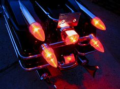 """These beautiful and distinctive """"Dagmar Lights"""" add excitement and enhanced visibility to your Harley. """"Dagmar"""" saddle bag lights can be wired as you choose for running, directional and brake lighting*. Tail Light, Lava Lamp, Table Lamp, Lights, Cadillac, Touring, Harley Davidson, Motorcycles, Models"""