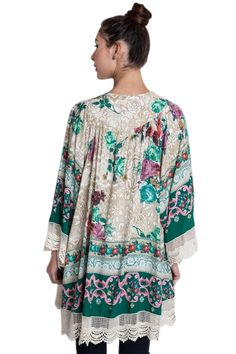 Plus Vintage Bohemian Soft Knit Lace Fringed Hem Kimono Cardigan ...