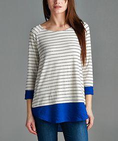 Look at this #zulilyfind! Royal Blue Stripe Tunic #zulilyfinds