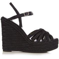 Saint Laurent Espadrille wedge sandals ($595) ❤ liked on Polyvore featuring shoes, sandals, black, floral print sandals, floral wedge sandals, black shoes, floral shoes and black wedge espadrilles