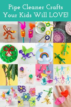 Learn how to make pipe cleaner crafts – over 50 of them – with these fun and easy ideas! Grab your chenille stems and get started. You're going to love this collection of animals, flowers, dress up, holiday, decor, and more. Diy Crafts For Tweens, Fun Diy Crafts, Craft Projects For Kids, Craft Stick Crafts, Arts And Crafts, Kid Crafts, Project Ideas, Pipe Cleaner Flowers, Pipe Cleaner Crafts
