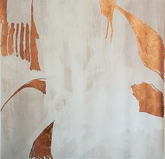 Elemental Design: Richly burnished metallic highlights enhance the understated, abstract quality of the Lucette artwork from Zoe Bios Creative, grounded by a just-barely-there shade of pink. October 2015 #hpmkt