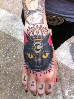 Old school colored mystical cat queen tattoo stylized with small moon symbol