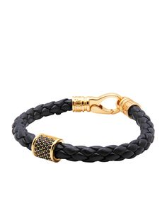 Leather Black with Gold Plated CZ Tubes | Nialaya Jewelry