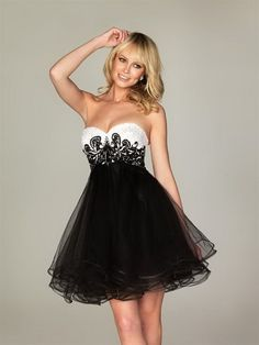Lovely Embroidered Black/White Sweetheart Short Cocktail Prom ...