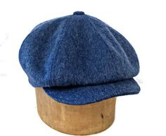 Men's Newsboy Cap in Blue Mohair Wool - Made to Order
