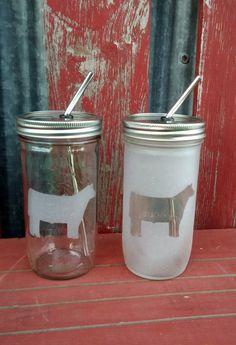 24 oz Show Steer Mason Drinking Jar & by IowaFarmLifeDreams, $15.00