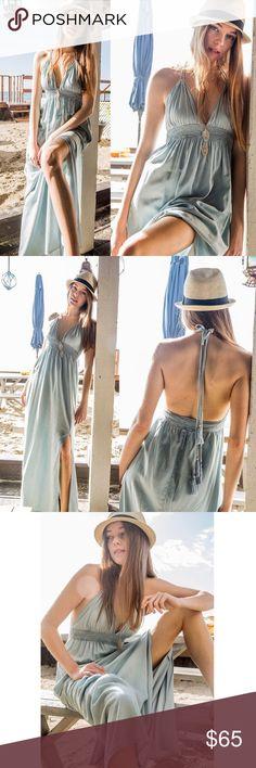 SOFIE boho halter dress - LIGHT DENIM Halter maxi dress with tassel tie. 50% tencel, 50% cotton. PLS SEE PIC 5 for TRUE COLORNO TRADE, PRICE FIRM Bellanblue Dresses Maxi