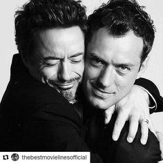 Robert Downey Jr & Jude Law These guys are the best actors ever, and they are awesome together in Robert Downey Jr., Jude Low, Kino Movie, Foto Face, Tv Star, Robert Mapplethorpe, Hollywood, Downey Junior, Celebrity Portraits