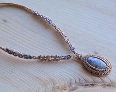 Macrame necklace, macrame jewelry, Sodalite necklace, necklaces, bohemian jewelry, macrame, micro macrame, boho necklaces, healing stone