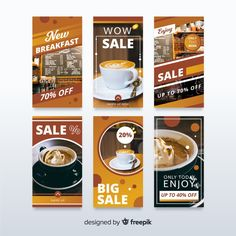 Sale banner collection for social media Free Vector Food Graphic Design, Menu Design, Presentation Design, Graphic Design Inspiration, Banner Design, Layout Design, Social Media Template, Social Media Design, Social Media Graphics