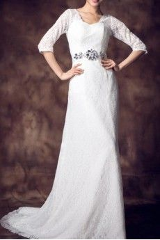 Lace Scoop Neckline Empire Gown with Crystal