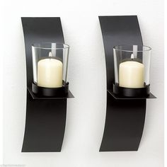NEW Modern Art Black Metal Glass Votive Candle Holder Wall Sconce Duo